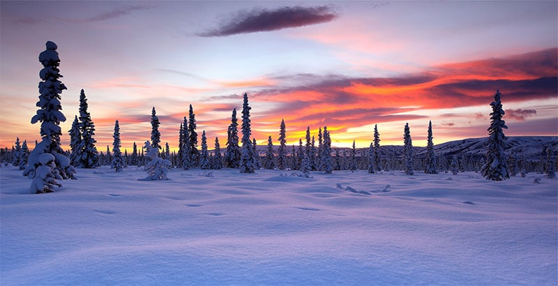 winter sunset, alaska