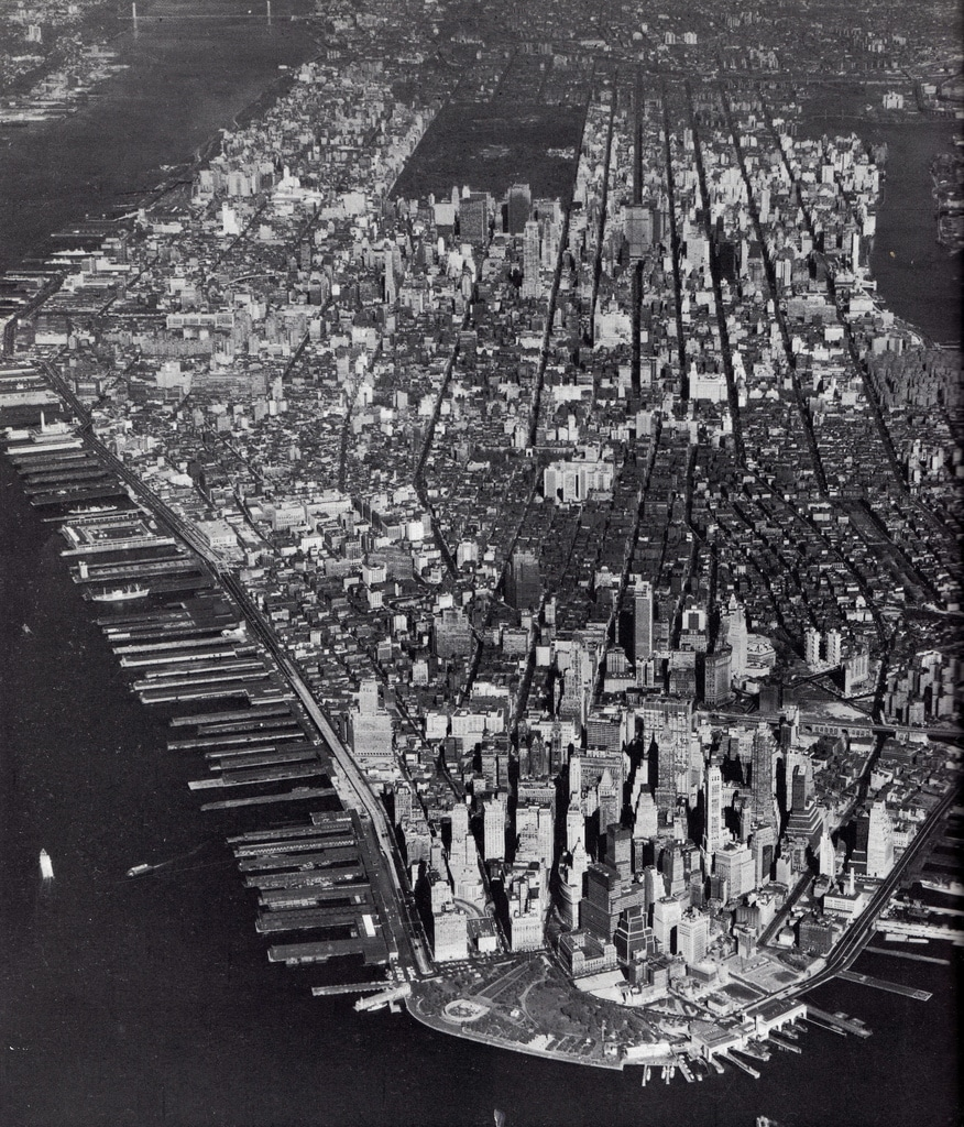 Aerial view of Manhattan Island from the south. August 1966.