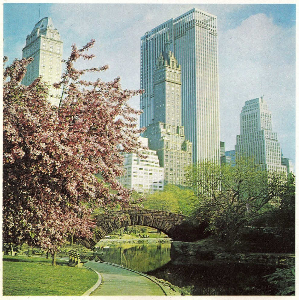 The General Motors building, nearing completion in April 1968 is viewed from Central Park.