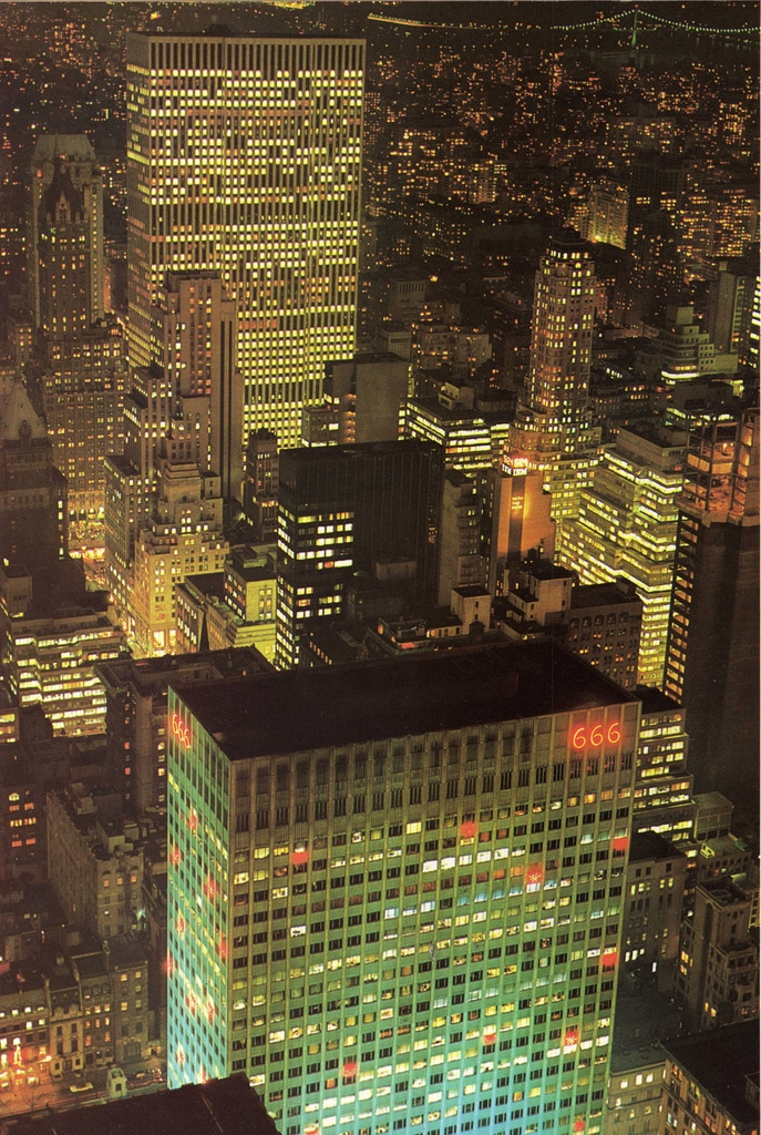 Night view of the completed General Motors Building from RCA Building. January 1970.